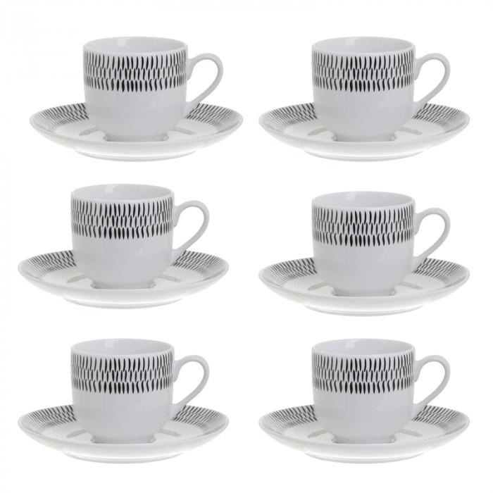 Set 6 cesti de Cafea cu farfurii, din portelan, culoare alb cu model negru, 90 ml [0]