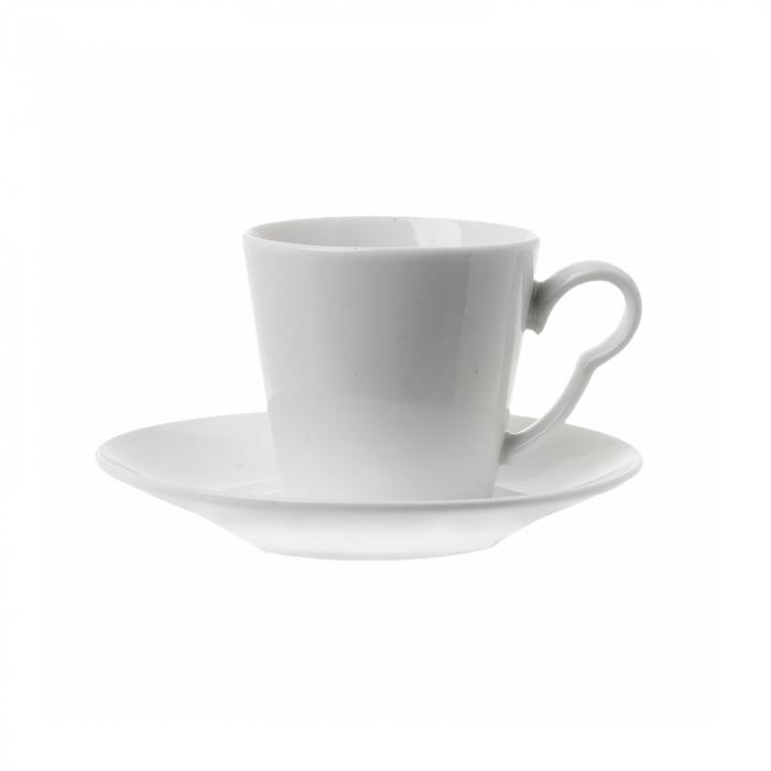 Set 6 cesti de cafea cu farfurie, din portelan, Alb, 100 ml 2