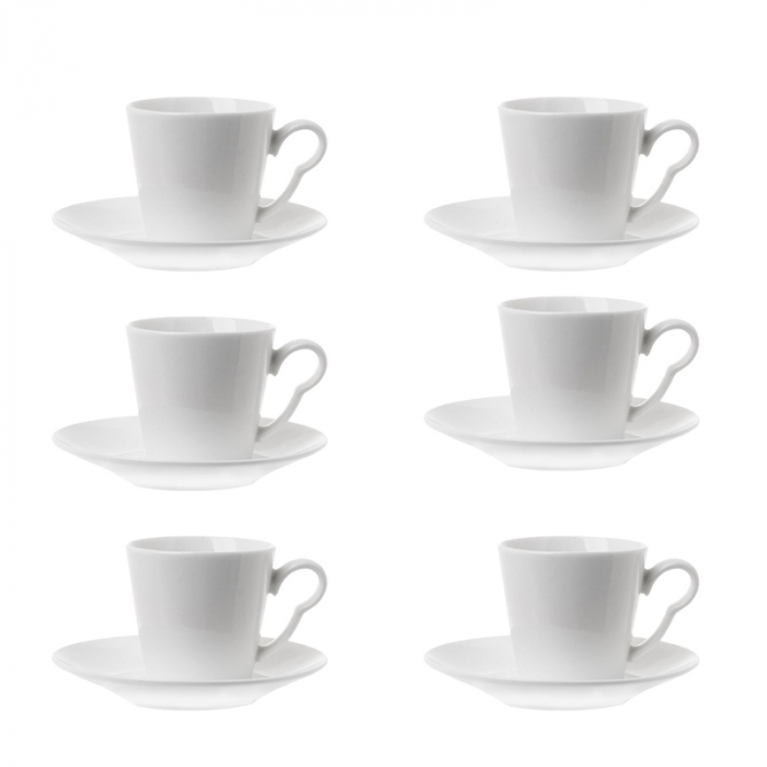 Set 6 cesti de cafea cu farfurie, din portelan, Alb, 100 ml 0