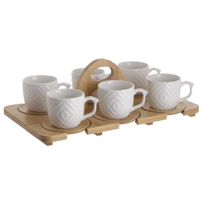 Set 6 cesti, din portelan, pentru ceai, pe suport bambus, 280 ml 0