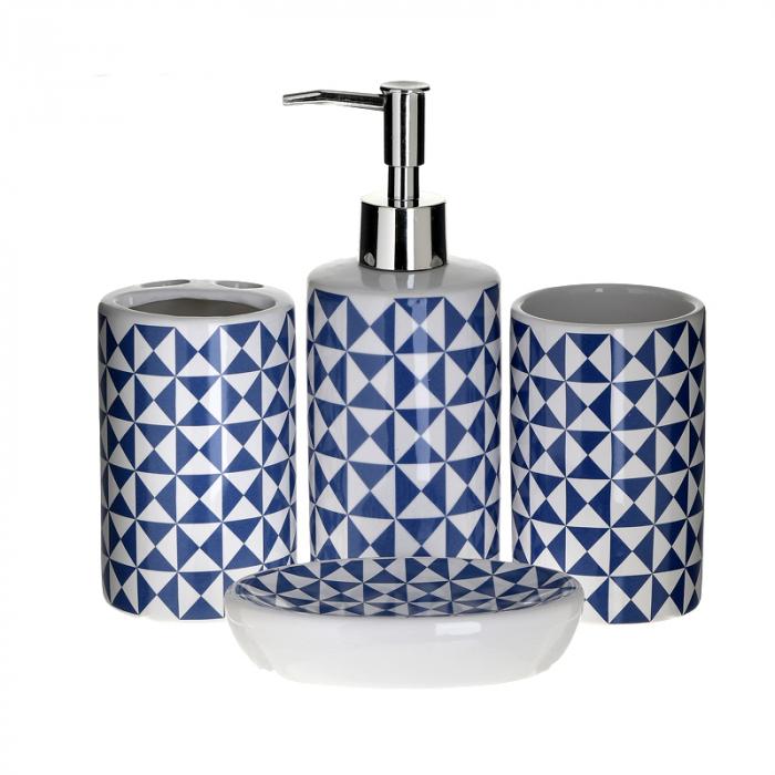 Set accesorii baie din ceramica 4 piese, cu model albastru 0