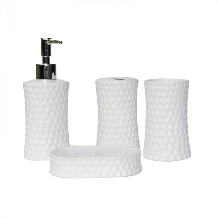 Set accesorii baie din ceramica model buline alb 3