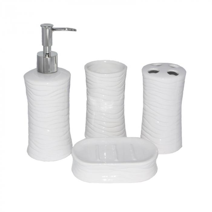 Set accesorii baie din ceramica  model valuri alb 2