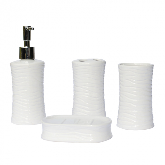 Set accesorii baie din ceramica  model valuri alb 1