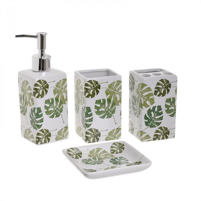Set accesorii baie din ceramic, 4 piese, set ingrijire personala, model Alb/Verde, cu imprimeu Frunze Palmier 1