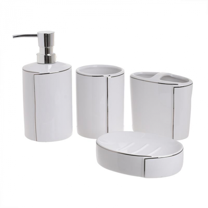 Set baie 4 piese din portelan alb cu dungi argintii 0
