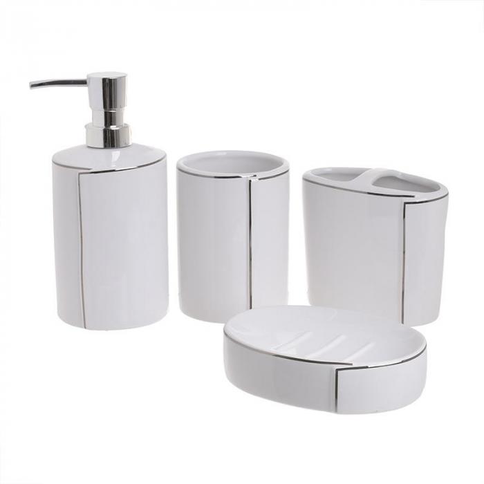 Set baie 4 piese din portelan alb cu dungi argintii 1