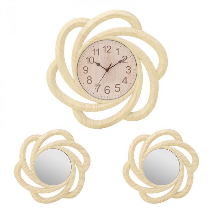 Set ceas cu doua oglinzi rama plastic culoarea crem diametru 40,5 cm 0