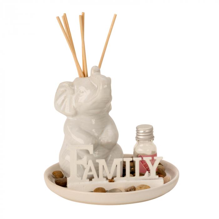 Set odorizant de camera, cu figurina Elefant Alb, din ceramica, parfum si betisoare, 14cm x 14cm [0]