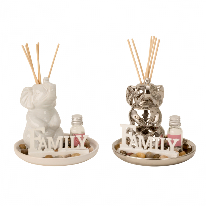Set odorizant de camera, cu figurina Elefant Argintiu din ceramica, parfum si betisoare, 14cm x 14 cm [1]