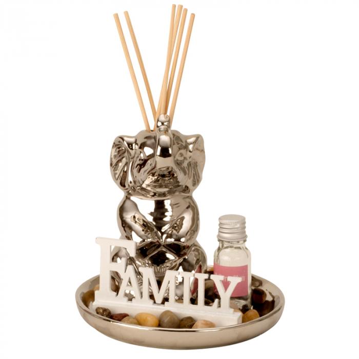 Set odorizant de camera, cu figurina Elefant Argintiu din ceramica, parfum si betisoare, 14cm x 14 cm [0]
