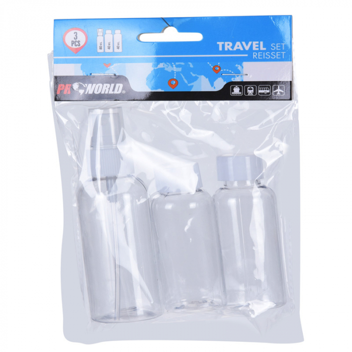 Set de recipiente calatorie, 3 Sticlute, de voiaj, Plastic, 1x80ml si 2x40ml, Alb/Transparent 1