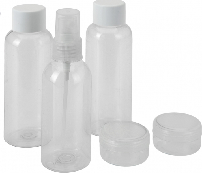 Set pentru calatorie, 5 piese, 3 recipiente 12x3.7cm si 2 cutii 3.6x2.2cm, de voiaj, Plastic, Alb/Transparent [2]