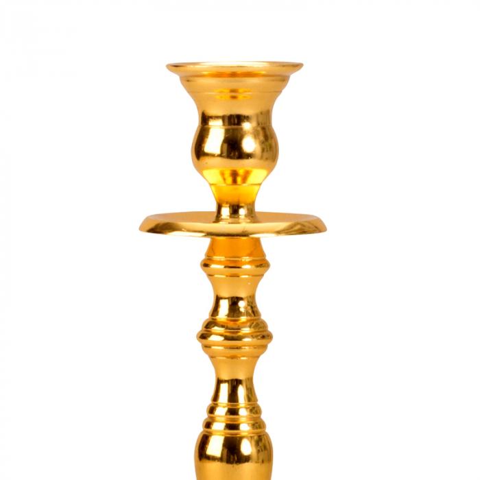 Sfesnic Mic Auriu, cu 1 brat, din metal, placat cu Aur, 23 cm 3