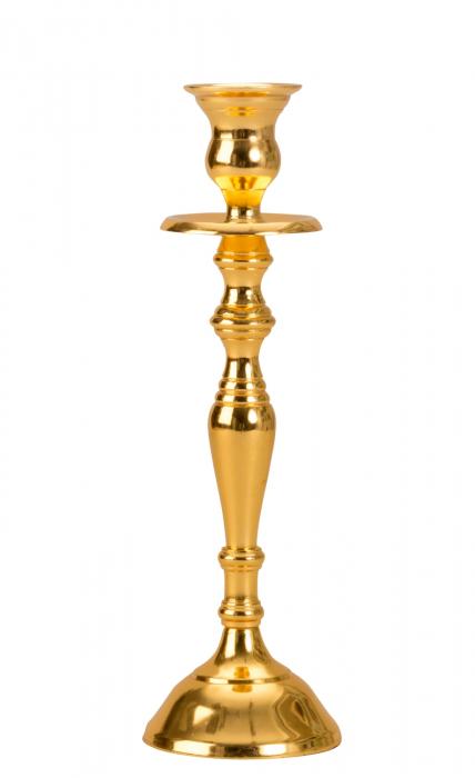Sfesnic Mic Auriu, cu 1 brat, din metal, placat cu Aur, 23 cm 0