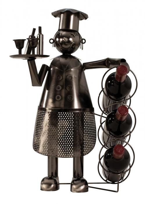 Suport pentru Sticle de Vin, tipBucatar, din metal lucios Argintiu/Negru, capacitate 3Sticle de 0,75 ml,H 53 cm, latime 36 cm 0