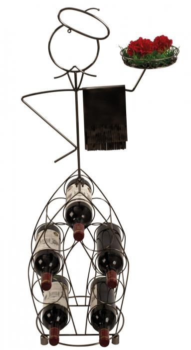 Suport pentru Sticle de Vin, model Ospatar, din metal Argintiu lucios, capacitate 9 Sticle de 0,75 ml, H 99 cm 0