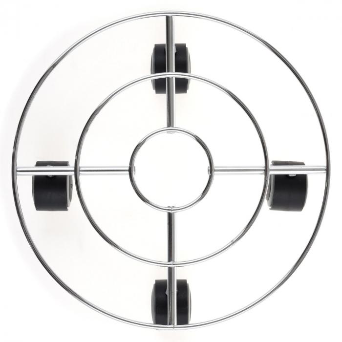 Suport cromat ghiveci D 32cm cu 4 roti [2]