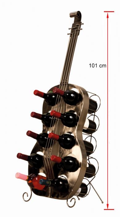 Suport de Sticle Vin, model Chitara, din metal Negru lucios, capacitate 10 Sticle de 0,75 ml, H 101 cm 1