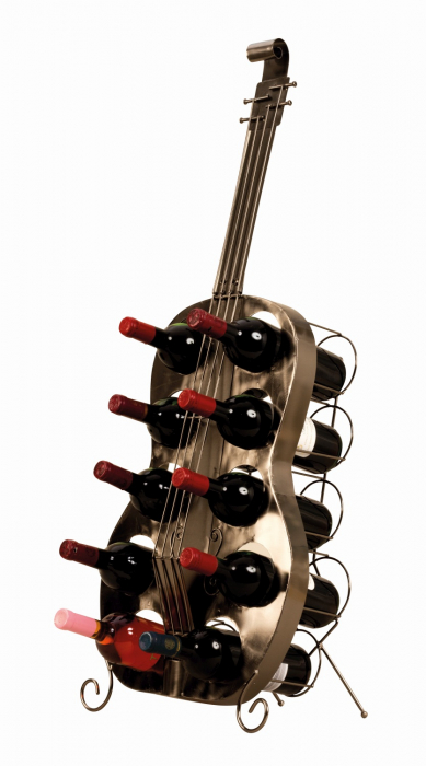 Suport de Sticle Vin, model Contrabas, din metal Negru lucios, capacitate 10 Sticle de 0,75 ml, H 101 cm 0