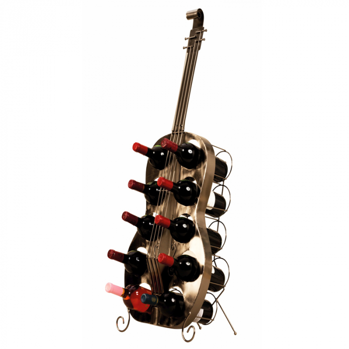 Suport de Sticle Vin, model Contrabas, din metal Negru lucios, capacitate 10 Sticle de 0,75 ml, H 101 cm 1