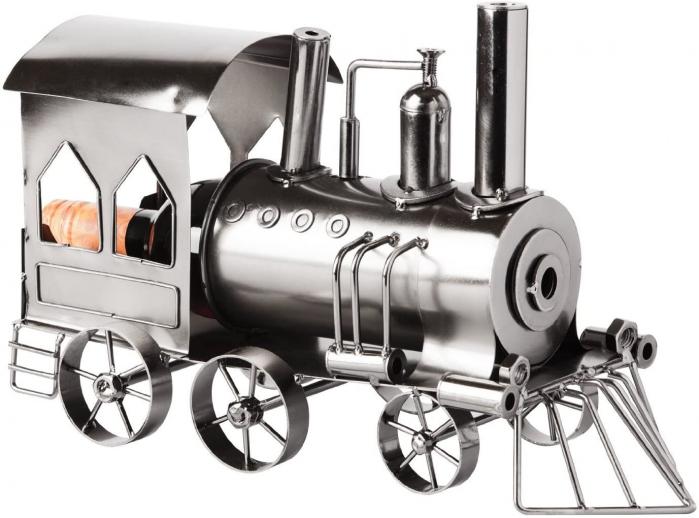 Suport din Metal lucios pentru Sticla de Vin, model Locomotiva cu Aburi, Capacitate 1 Sticla, Argintiu/Negru, H 23 cm L 37.5cm [0]