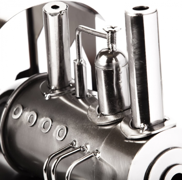 Suport din Metal lucios pentru Sticla de Vin, model Locomotiva cu Aburi, Capacitate 1 Sticla, Argintiu/Negru, H 23 cm L 37.5cm [4]