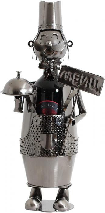 Suport din Metal lucios pentru Sticla de Vin, model Ospatar, aspect Vintage Capacitate 1 Sticla, H 41 cm 0