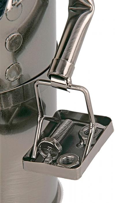 Suport din Metal lucios pentru Sticla de Vin, tip Instalator, Argintiu/Negru, capacitate 1 Sticla, H 34 cm 6