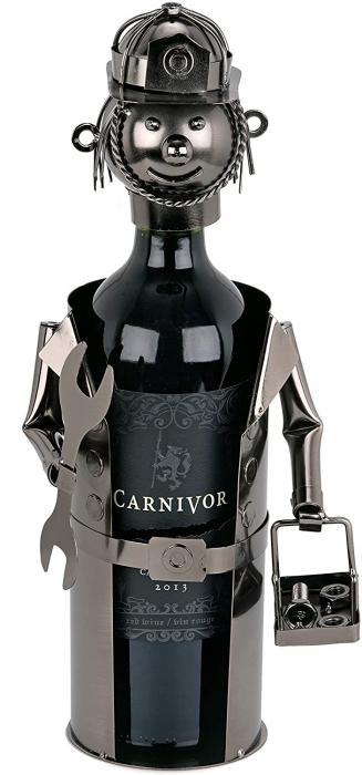 Suport din Metal lucios pentru Sticla de Vin, tip Instalator, Argintiu/Negru, capacitate 1 Sticla, H 34 cm 0