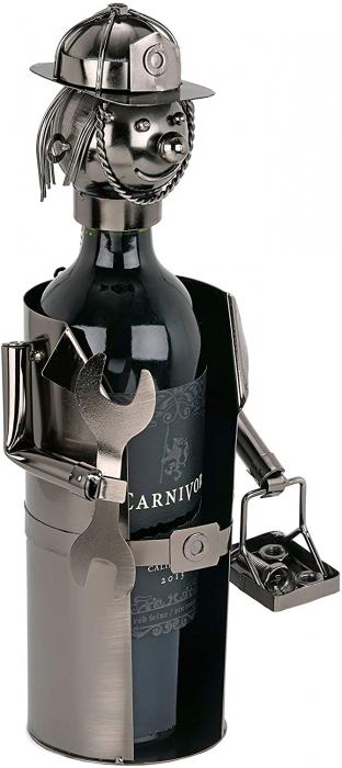 Suport din Metal lucios pentru Sticla de Vin, tip Instalator, Argintiu/Negru, capacitate 1 Sticla, H 34 cm 2