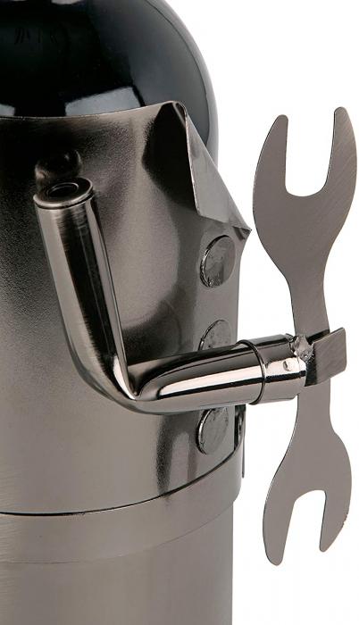 Suport din Metal lucios pentru Sticla de Vin, tip Instalator, Argintiu/Negru, capacitate 1 Sticla, H 34 cm 7