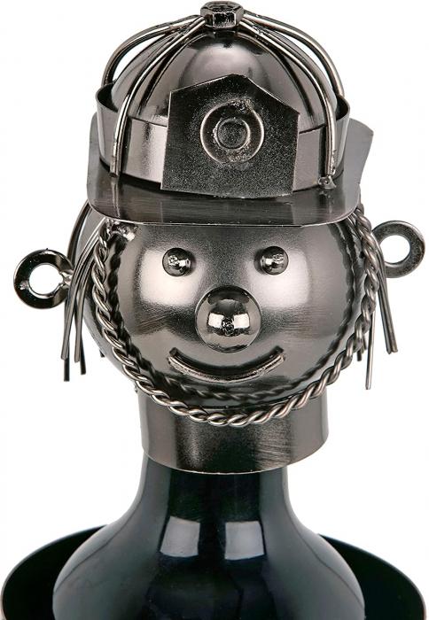 Suport din Metal lucios pentru Sticla de Vin, tip Instalator, Argintiu/Negru, capacitate 1 Sticla, H 34 cm 5