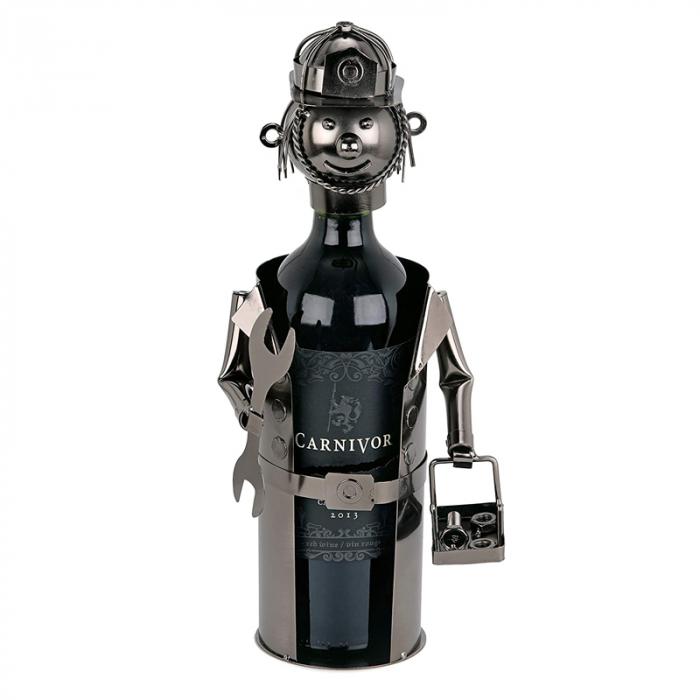 Suport din Metal lucios pentru Sticla de Vin, tip Instalator, Argintiu/Negru, capacitate 1 Sticla, H 34 cm 1