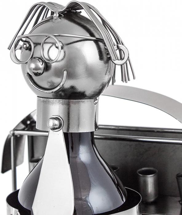 Suport din Metal pentru Sticla de Bere, model Farmacist, H 25 cm, L 14 cm 4