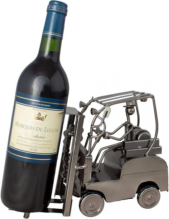 Suport din Metal pentru Sticla de Vin, Cupru, model Stivuitor, Capacitate 1 Sticla, H 17 cm, L 25 cm 4