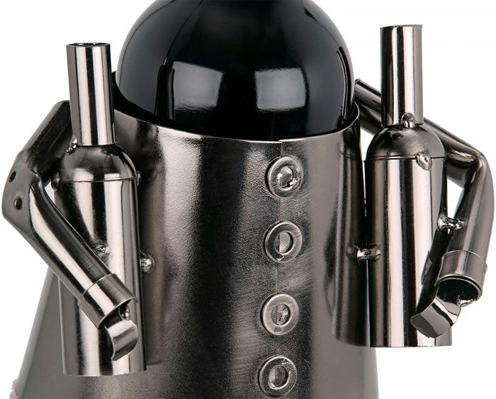 Suport din Metal pentru Sticla de Vin, model Barman, Capacitate 1 Sticla, Negru/Argintiu, H 38 cm 4