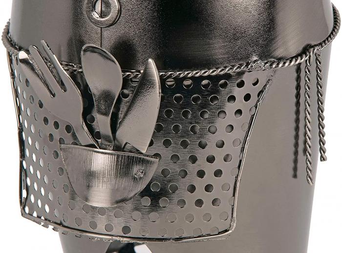 Suport din Metal pentru Sticla de Vin, model Barman, Capacitate 1 Sticla, Negru/Argintiu, H 38 cm 6