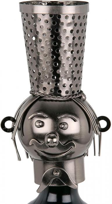 Suport din Metal pentru Sticla de Vin, model Barman, Capacitate 1 Sticla, Negru/Argintiu, H 38 cm 5