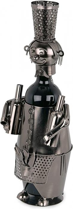 Suport din Metal pentru Sticla de Vin, model Barman, Capacitate 1 Sticla, Negru/Argintiu, H 38 cm 3
