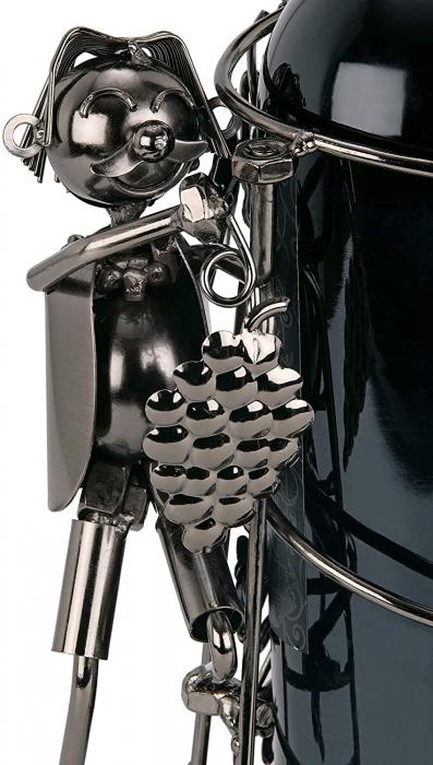 Suport din Metal pentru Sticla de Vin, model Culegator Struguri, Capacitate 1 Sticla, Negru/Argintiu, H 21 cm [3]