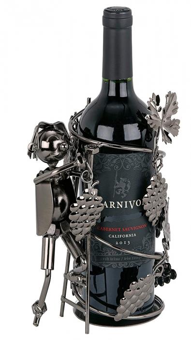 Suport din Metal pentru Sticla de Vin, model Culegator Struguri, Capacitate 1 Sticla, Negru/Argintiu, H 21 cm [0]