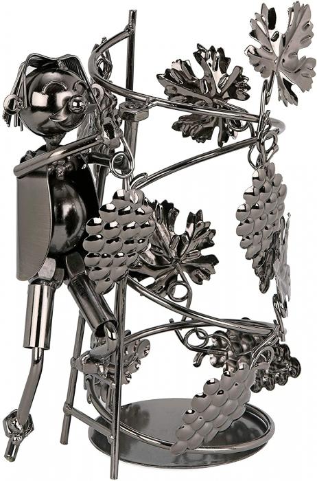 Suport din Metal pentru Sticla de Vin, model Culegator Struguri, Capacitate 1 Sticla, Negru/Argintiu, H 21 cm [2]