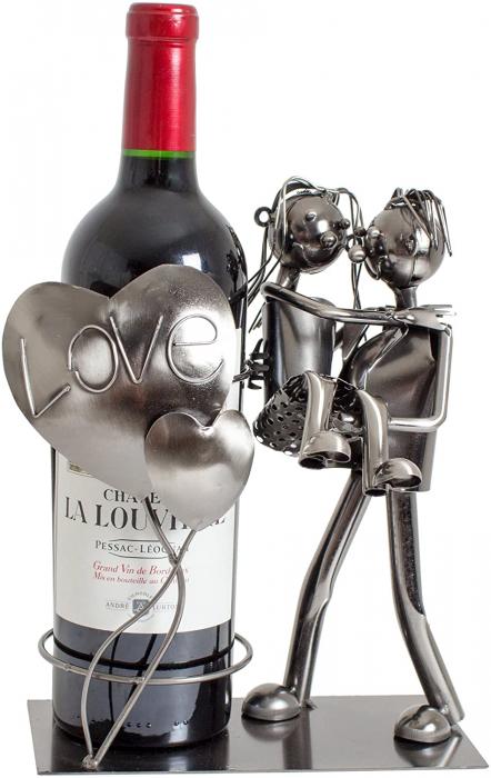 Suport din Metal pentru Sticla de Vin, model Cuplu de Indragostiti, cu Inimii Love, Argintiu/Negru, capacitate 1 Sticla, H 24cm, L19 cm 0