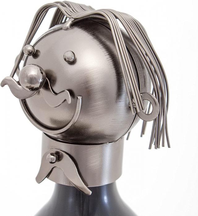 Suport din Metal pentru Sticla de Vin, model Grataragiu, Argintiu/Negru, capacitate 1 Sticla, H 34 cm 5