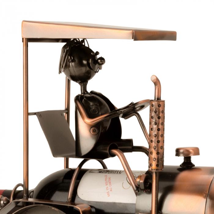 Suport din Metal pentru Sticla de Vin, model Tractor, H 27 cm 2