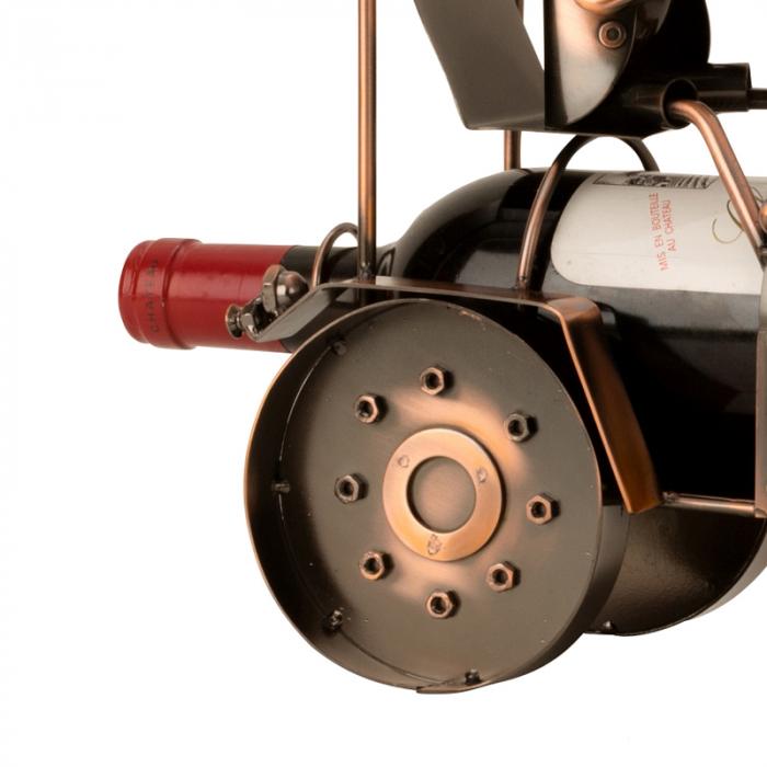 Suport din Metal pentru Sticla de Vin, model Tractor, H 27 cm 3