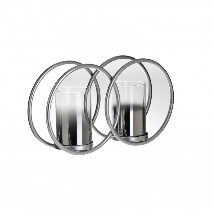 Suport din metal si sticla culoare argintie pentru 2 lumanari 33Χ8Χ19 cm [0]