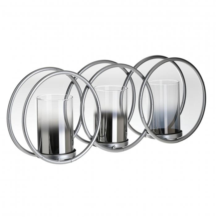 Suport din metal si sticla culoare argintie pentru 3 lumanari 47Χ9Χ19 cm [0]