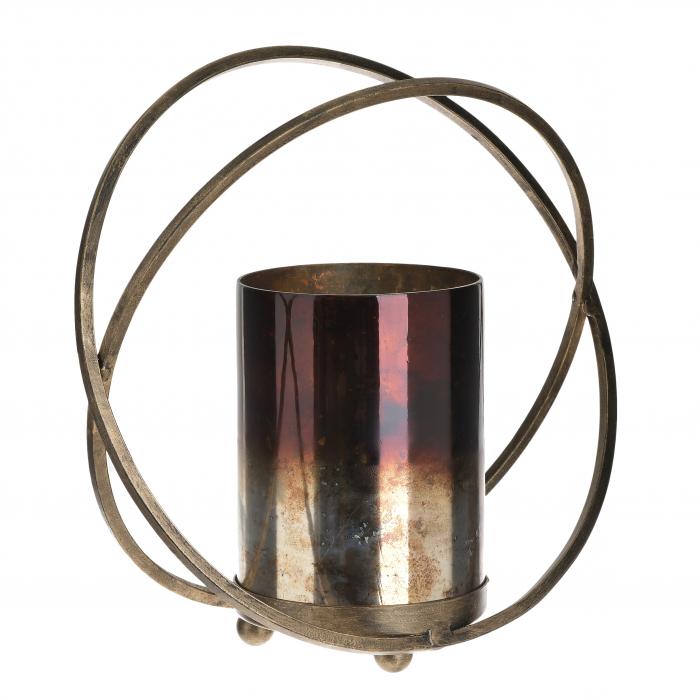 Suport pentru lumanari, din metal si sticla, culoare neagra si aurie, 29X13X28 cm [0]